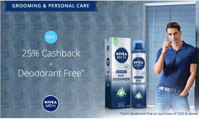 Paytm Nivea Exlusive Store free deodrant offers hiva26