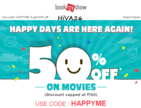 bookmyshow happy days 50% off offer hiva26