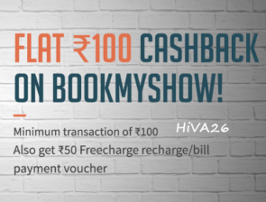 bookmyshow freecharge 100rs off with 50rs recharge coupon hiva26